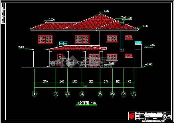 某2层坡屋顶别墅建筑施工cad图纸
