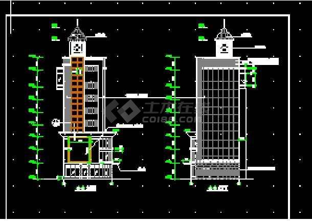 简单实用的办公楼建筑施工CAD图纸