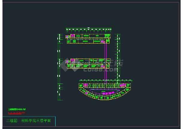 某地某材料学院建筑设计方案规划图纸-图3