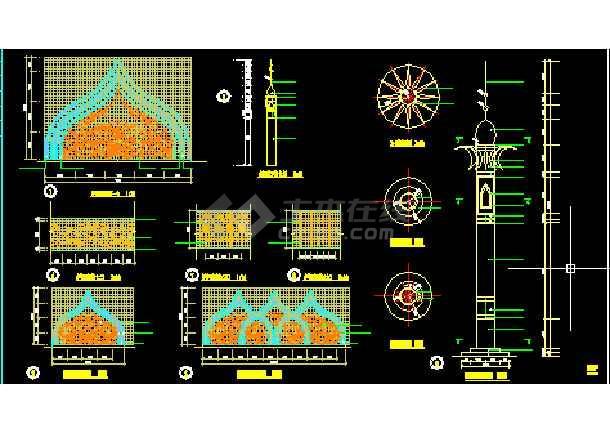 人行天桥栏杆建筑设计cad大样施工图纸-图3