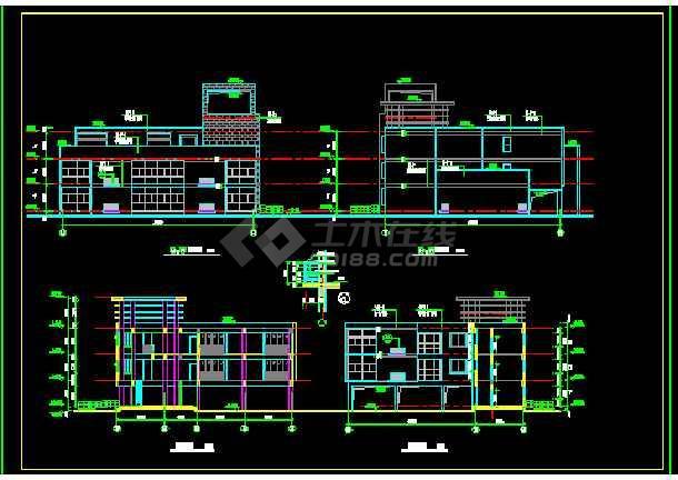 8米 三层幼儿园建筑设计图含楼梯卫生间墙身大样-图1