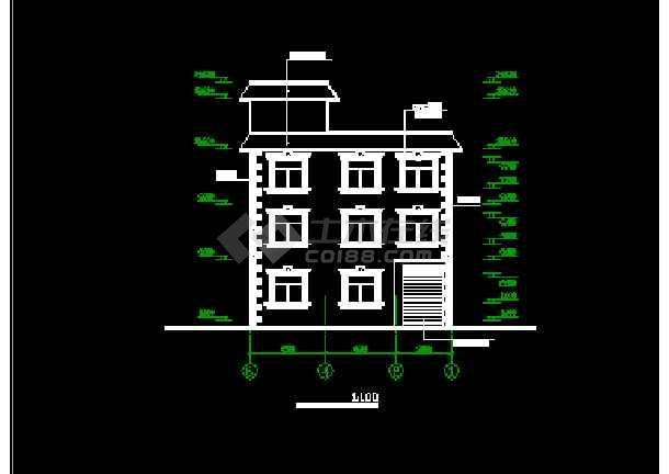 3层图纸房屋建筑CAD设计农村(带效果图)_cad2014cad去掉版教育图片