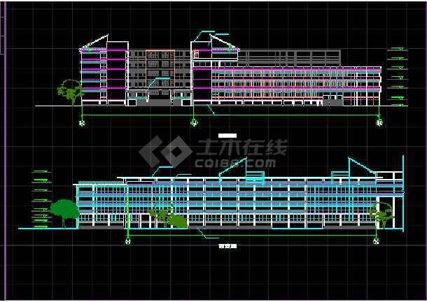 某学校体育馆建筑CAD活动中心立面图纸-图1