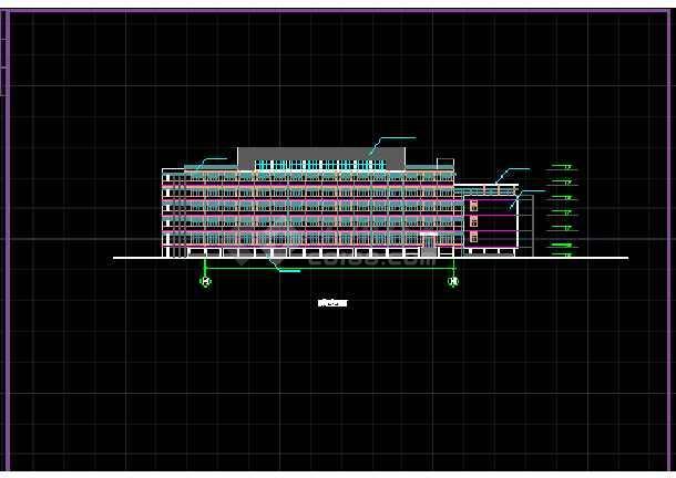 某学校体育馆建筑CAD活动中心立面图纸-图3