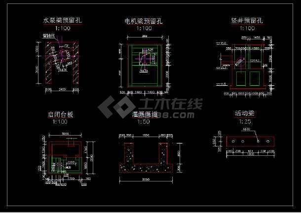 信丰排灌站设计cad详细建筑施工图-图1