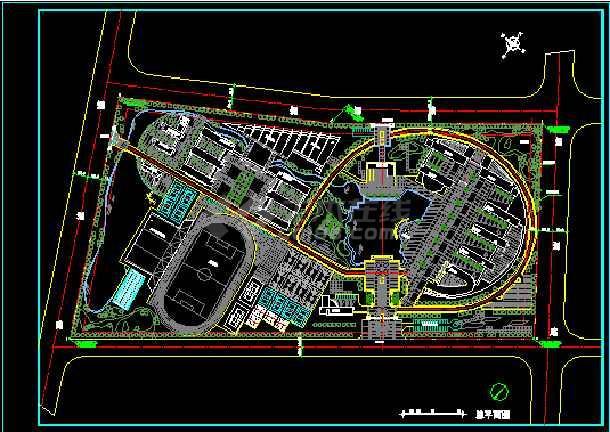 某学校建筑设计CAD方案总平面图