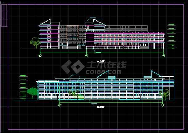 某学校体育馆活动中心立面CAD详图-图1
