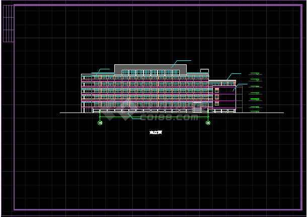 某学校体育馆活动中心立面CAD详图-图2