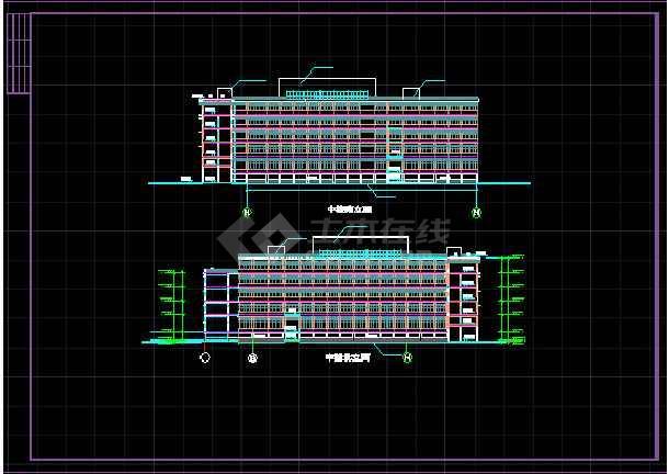某学校体育馆活动中心立面CAD详图-图3