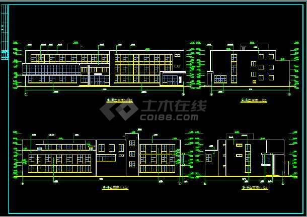 某县三层门诊楼建筑CAD施工图纸-图1