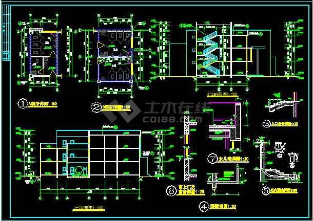 某县三层门诊楼建筑CAD施工图纸-图2