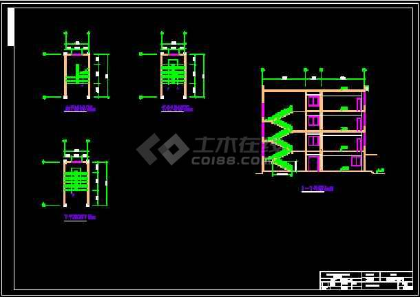 某三层框架图书馆钢筋及广联达算量(含CAD图cdr画图纸图片