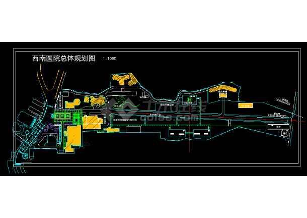 西南某医院总体规划设计CAD施工图纸-图1