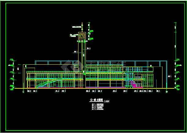 某三层大学生活动中心建筑设计cad施工方案图纸-图1