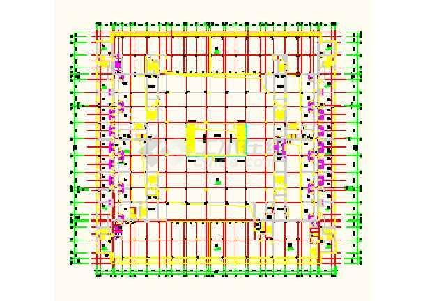 某地区大型超市建筑工程cad平面设计图图片