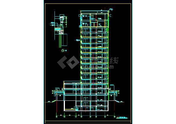 某三类甲等医院十六层病房楼建筑CAD扩初图纸-图1