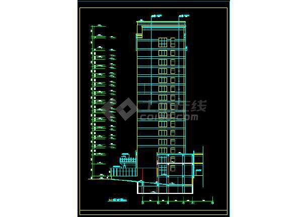 某三类甲等医院十六层病房楼建筑CAD扩初图纸-图3