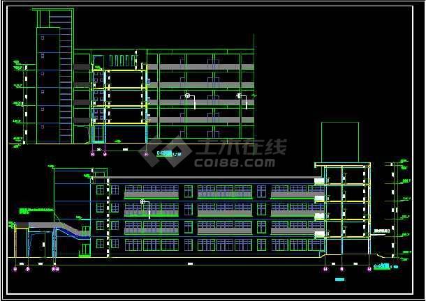 某教学楼建筑CAD施工设计详情图-图1