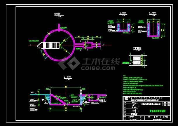 100方圆形蓄水池CAD设计图-图1