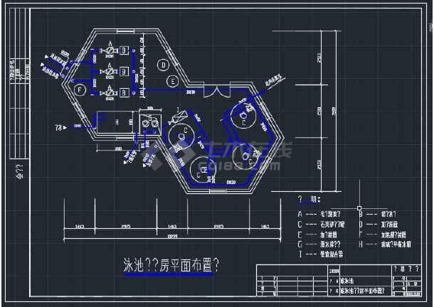 贵阳某花园游泳池设备CAD平面设计图-图3