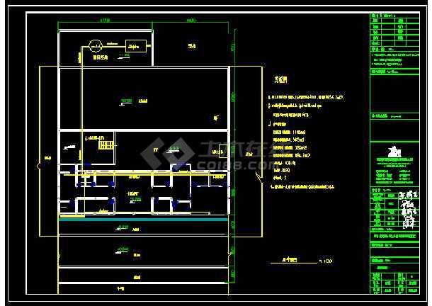二层框架结构卫生院污水处理CAD施工图-图3