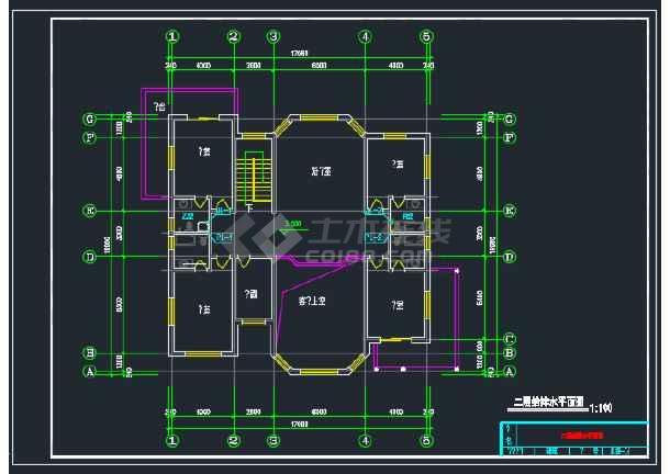 某二层别墅给排水CAD平面设计图-图1