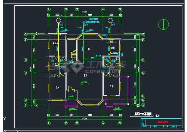 某二层别墅给排水CAD平面设计图-图2