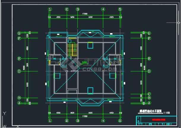 某二层别墅给排水CAD平面设计图-图3