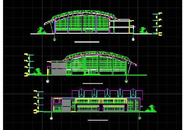 某学校体育馆建筑CAD设计方案图纸-图1