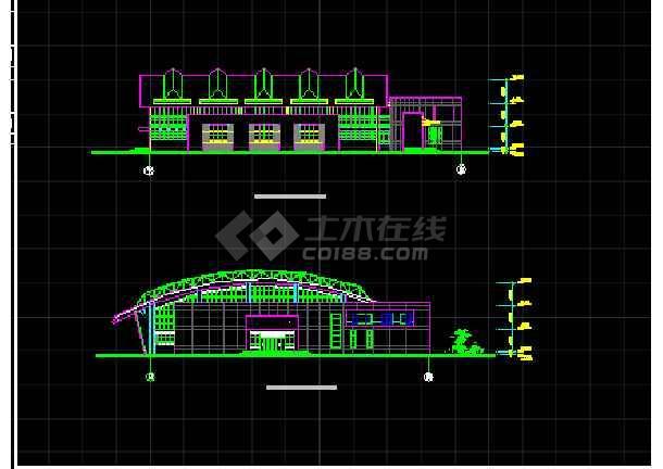 某学校体育馆建筑CAD设计方案图纸-图2