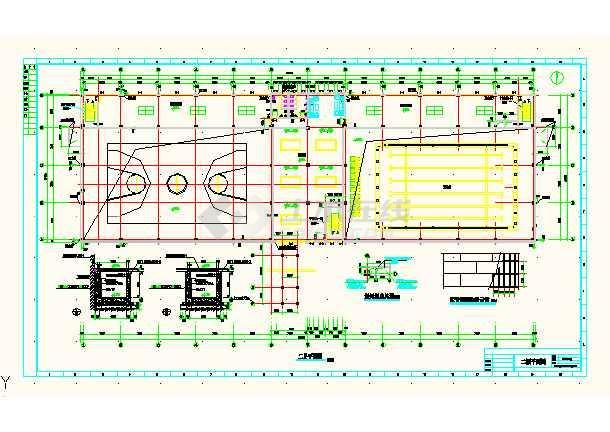 某城市体育馆建筑工程平面CAD设计图-图2