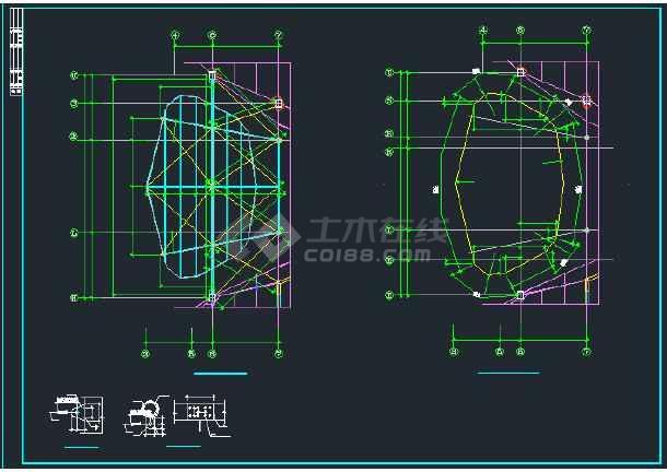 某地区钢结构雨棚全套施工设计cad图纸