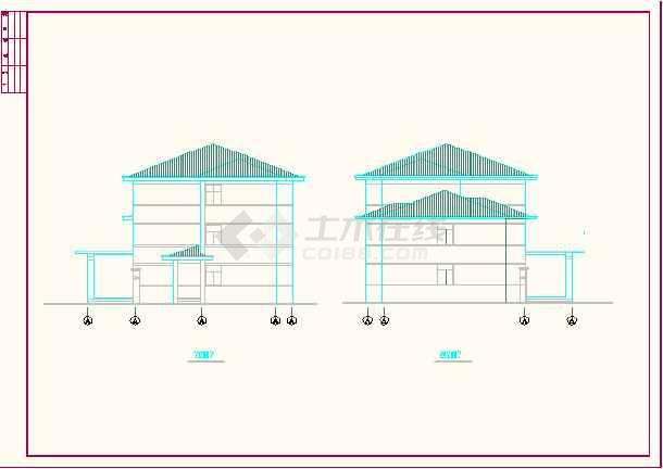 某地区国道收费站建筑CAD施工方案图-图1