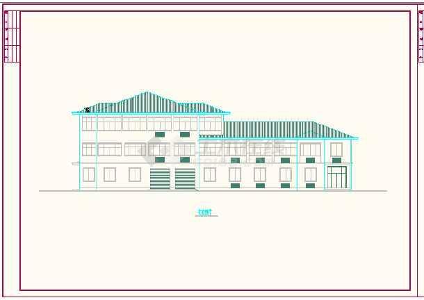 某地区国道收费站建筑CAD施工方案图-图2