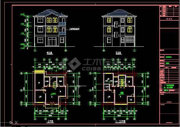 三层住宅楼建筑施工CAD设计图纸会计_cad图和方案cad员绘图的就业前景图片
