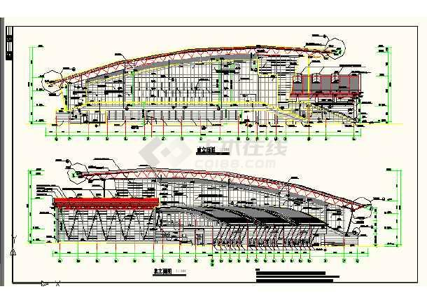 某地体育活动中心立面cad设计详图-图1