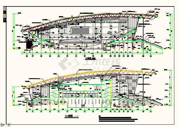 某地体育活动中心立面cad设计详图-图2