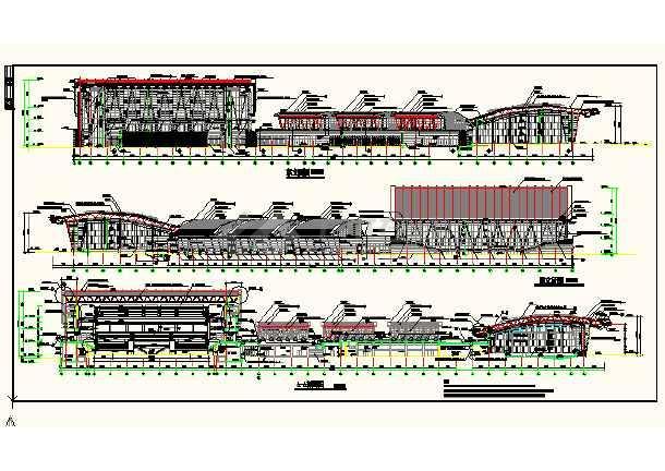 某地体育活动中心立面cad设计详图-图3