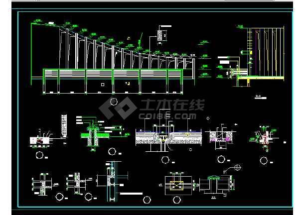 东城建筑设计施工方案全套CAD剖面图-图3
