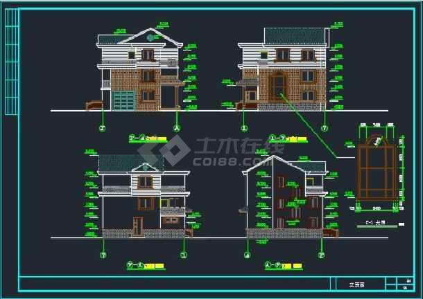 简单实用的新型农村图纸建筑CAD住宅_cad图详图冬甲震衣图片