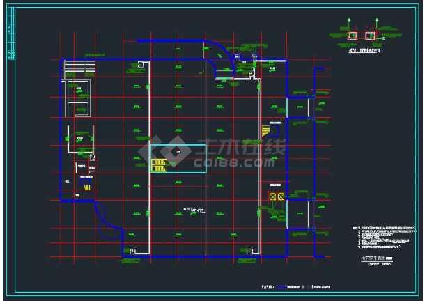 淮南某办公商厦总平面及各层平面设计图-图1