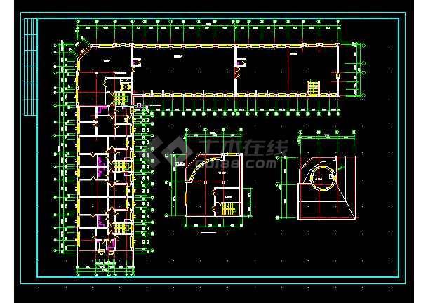 军分区综合楼建施设计方案全套CAD图纸-图1