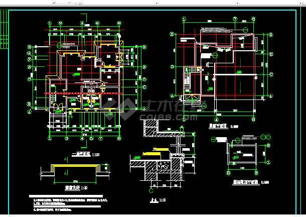 滨河茶馆设计施工全套CAD平面图图片