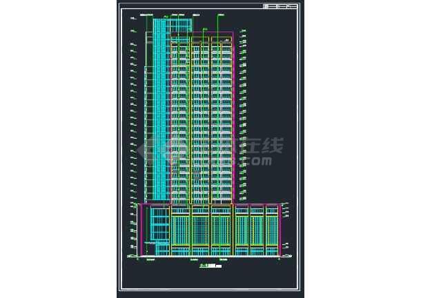 广州某处某国际大厦建筑方案CAD全套设计图-图3