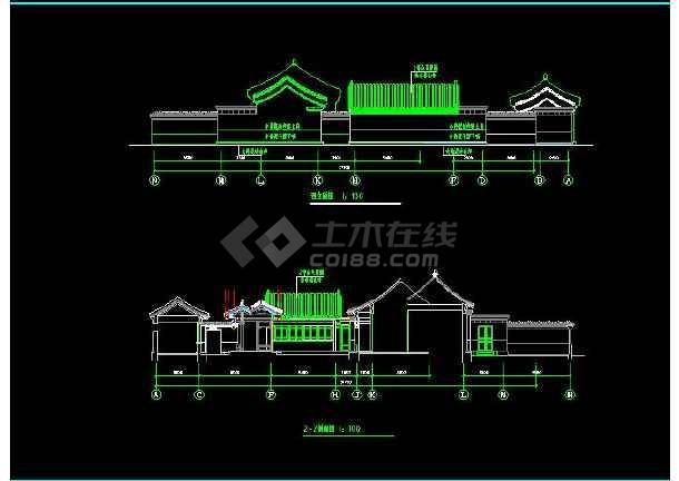 某地小型民居郊区四合院建筑设计图(共6张)