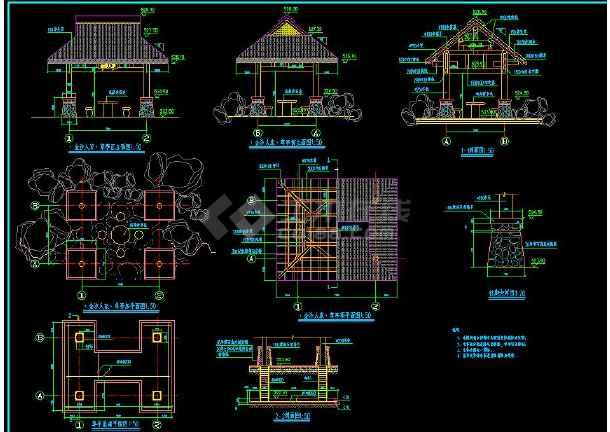 某地大型工业区入口广场廊亭建筑施工图(标注详细)-图1