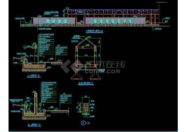 某地大型工业区入口广场廊亭建筑施工图(标注详细)-图2