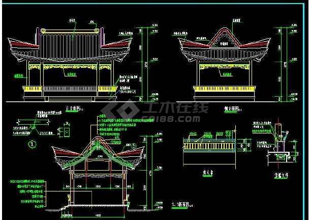 某地小型仿古四方亭建筑图(标注详细)-图1