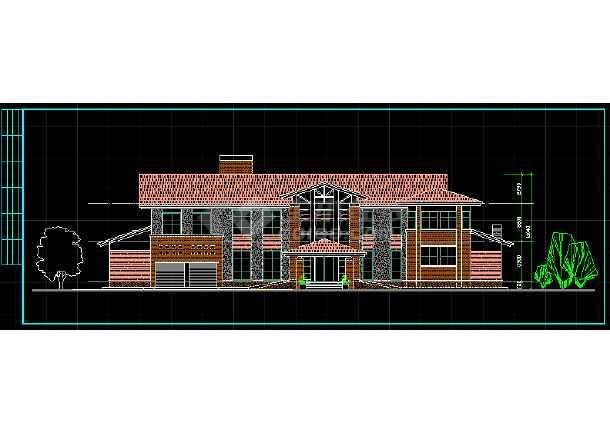 某两层独立别墅方案设计CAD详情图-图2