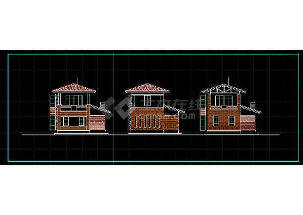 某两层独立别墅方案设计CAD详情图-图3